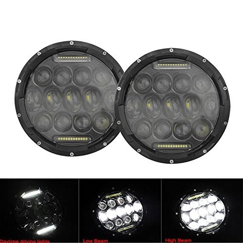 """New 2PC 75W 7"""" LED Headlight H4 H13 DRL HIGH LOW BEAM For JEEP JK Wrangler TJ"""