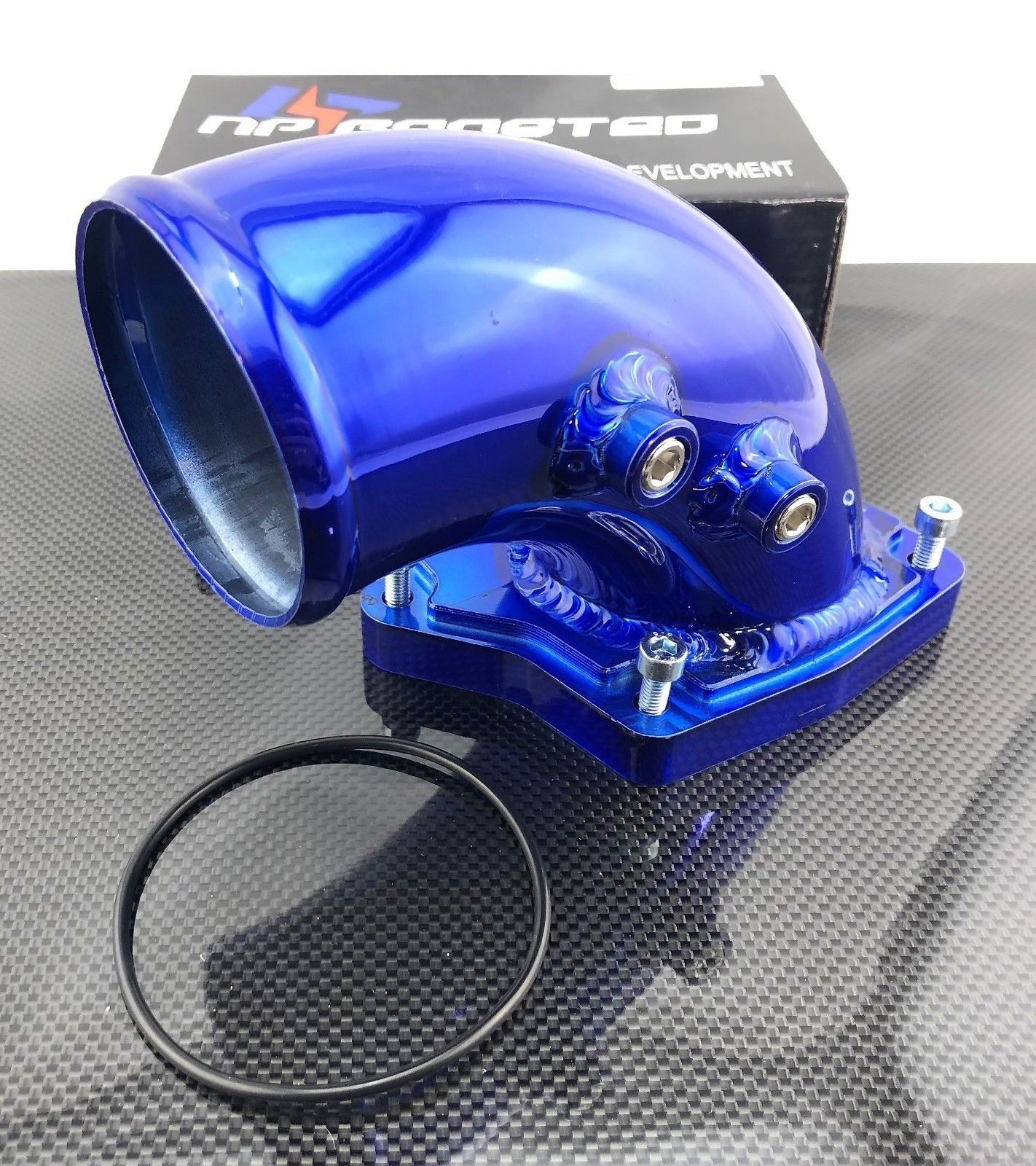 Blue 90 Degree Air Inlet Diesel Intake Elbow w/ Gasket & Bolts Fits 2003-2007 Ford 6.0L Powerstroke