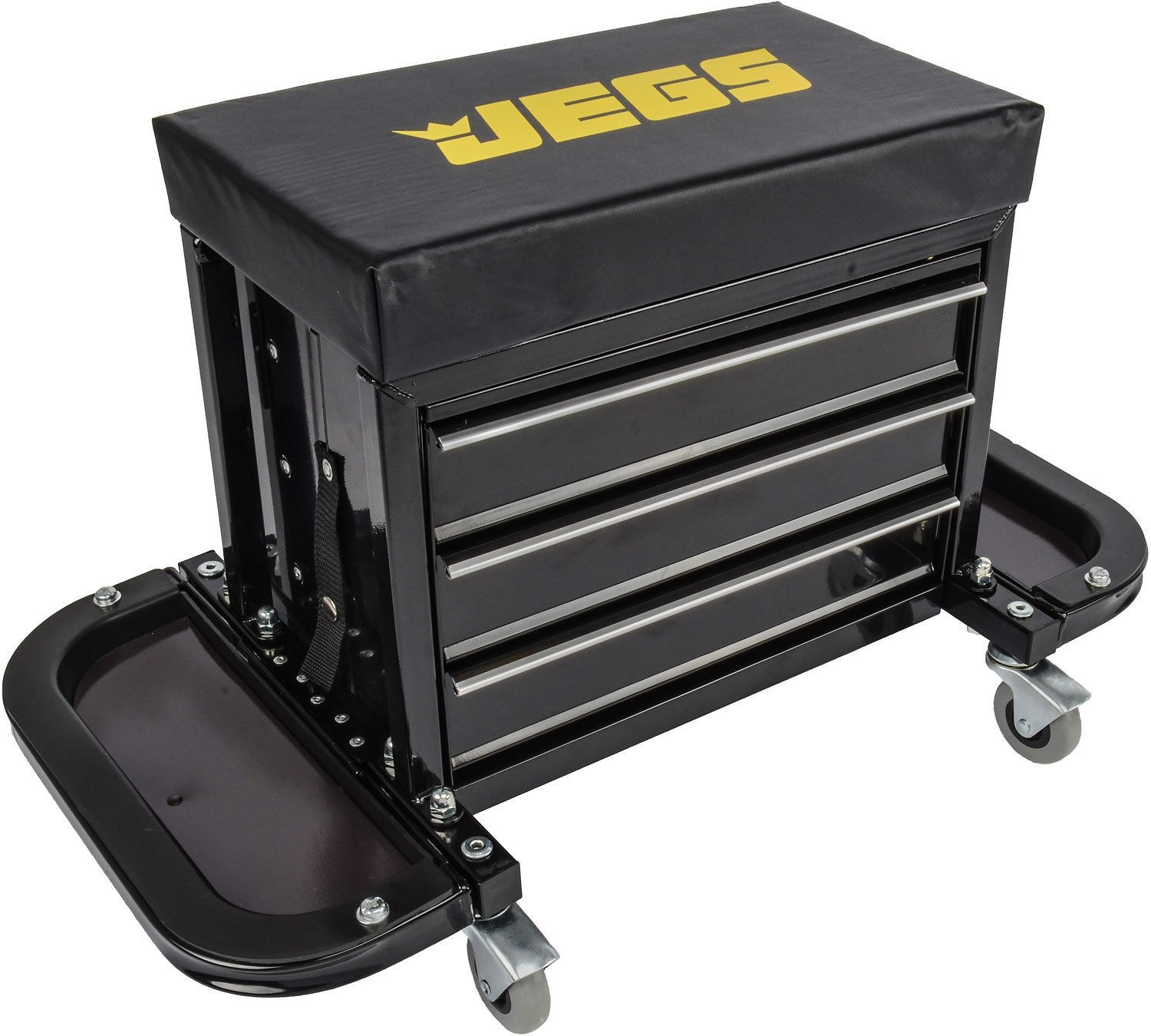 "JEGS 3-Drawer Mechanics Roller Seat Toolbox 26-3/8"" x 14-1/8"" x 16"" Overall"