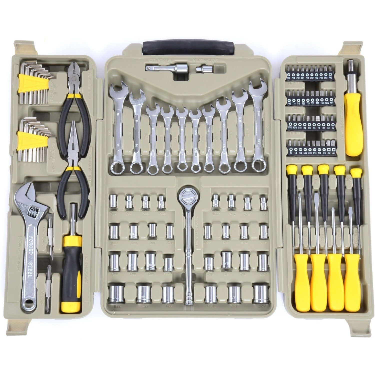 JEGS 123-Piece Tool Set w/ Carry Case - Plier, Socket, Wrench, Screwdriver & Bit Sets