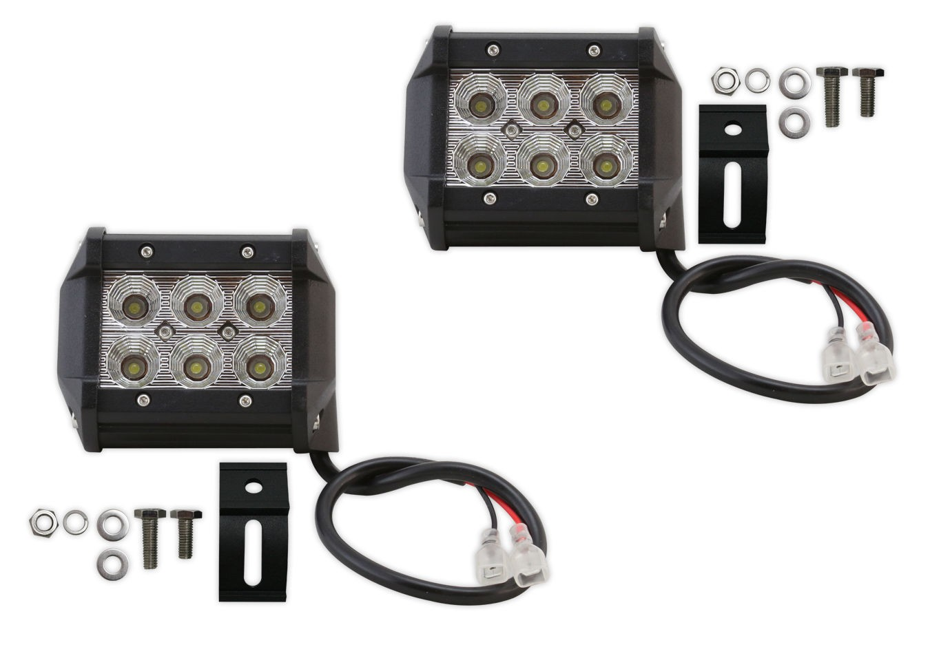 Pair of 4 Inch 18W Non Cree LED Flood Light Bar Driving Lamp Offroad Truck ATV