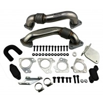 Left & Right Up Pipes & EGR Delete Kit for 2007-10 Duramax 6.6L Diesel 2500 3500