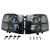 Pair of Headlights Head Lights w/ Bulbs for 07-14 Chevy Silverado 1500 2500 3500