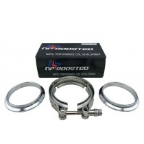 """3"""" Inch Steel V Band VBand V-Band Clamp & 2 Flanges for Turbo Exhaust Down Pipe"""