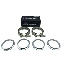 """2 Pack V-Band Flange 3 Inch Clamp Kit Male Female Turbo Outlet Exhaust 3"""" VBand"""