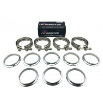 """3"""" V band V-Band Stainless 4 Clamps & 8 Flanges for Exhaust Downpipe Intercooler"""