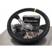 JDM 350mm Deep Dished Racing Suede Alloy Steering Wheel & Quick Release Hub Kit