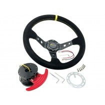 JDM 350mm Deep Dish Race Suede Alloy Steering Wheel & FLIP UP Quick Tilt Release