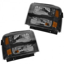 05-07 PAIR HEADLIGHTS SET FORD F-250 F-350 F250 F350 SUPERDUTY HARLEY DAVIDSON BLACK HOUSING 2005 2006 2007 6.0L 6C3Z-13008-CB