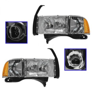 Headlights Headlamps w/Corner Light Pair Set for 99-02 Ram Sport Truck