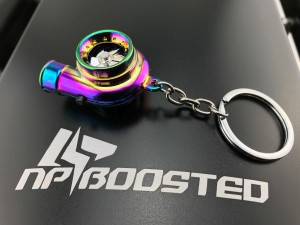 Neochrome color Spinning Racing Turbo Turbine Keychain Key Chain key Ring / Real TURBO NOISE!! Blades Actually SPIN!! - Never Lose those Keys Again!!